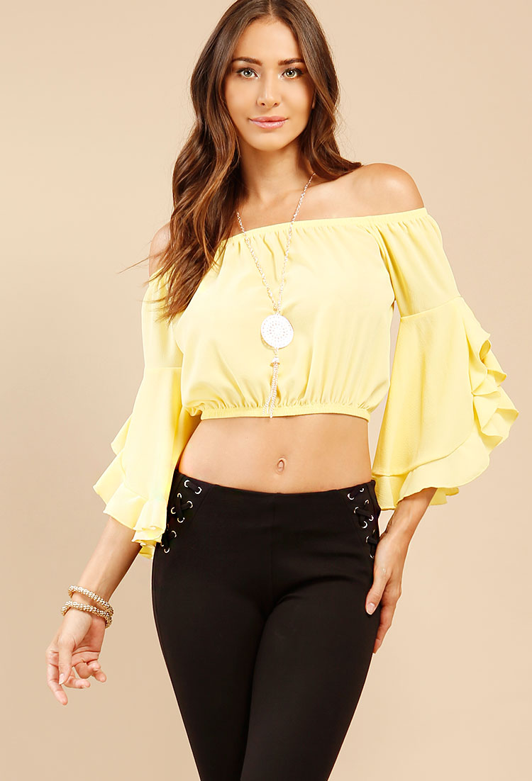 7b02e542966ab Ruffled Bell-Sleeve Off-The-Shoulder Top W  Necklace