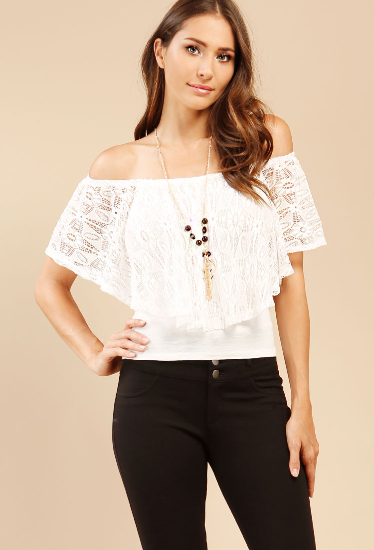 Well Dressed Lace Off Shoulder Top With Necklace  0cad144931fa
