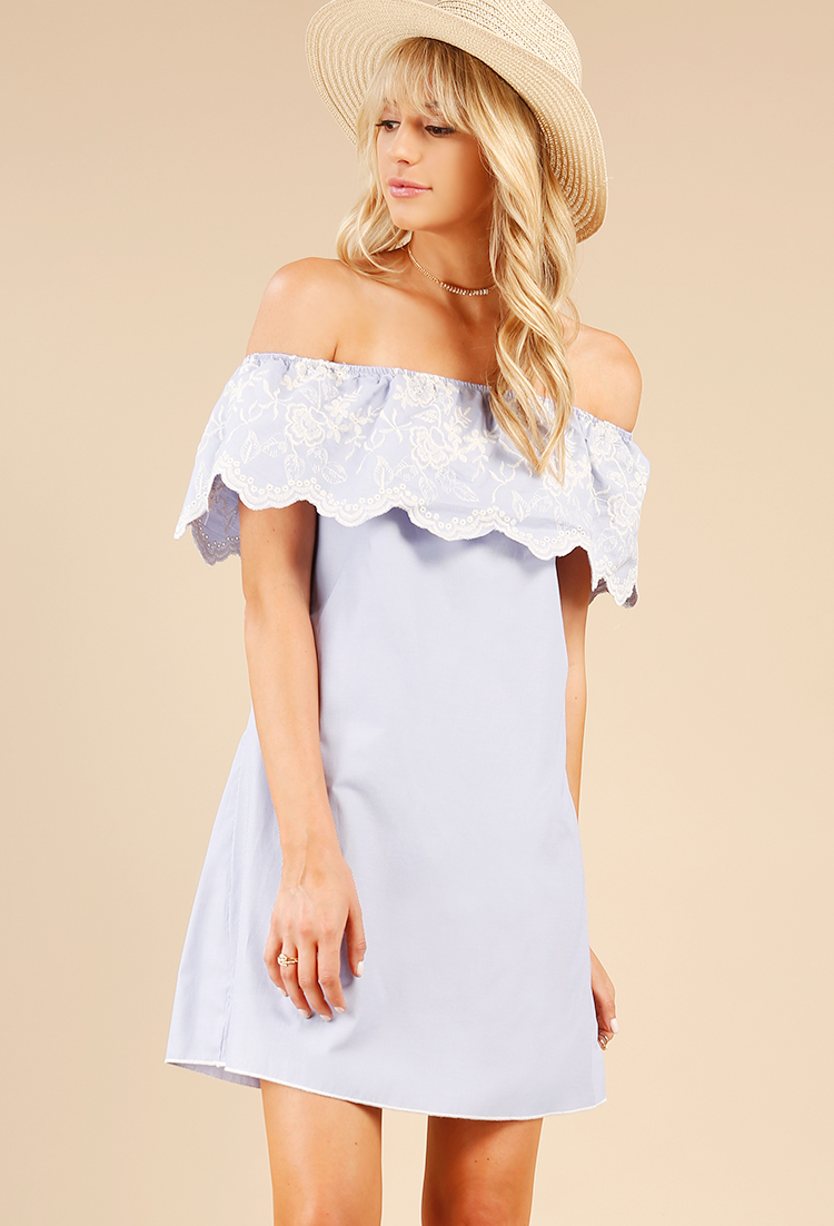 a7587dd146 Floral Embroidered Off-The-Shoulder Flounce Dress