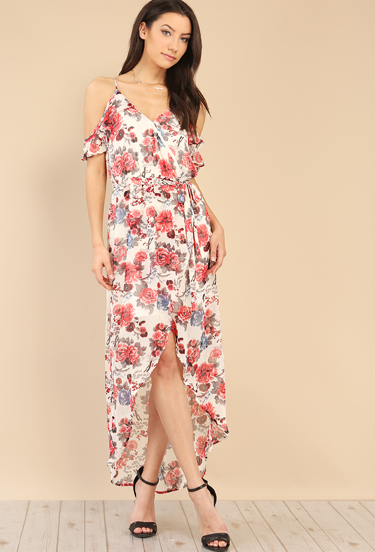 af4bf9bf3b Floral Open-Shoulder High-Low Dress | Shop All Promo at Papaya Clothing