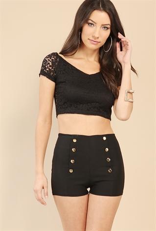 Lace V-Neck Crop Top   Shop Dressy Tops at Papaya Clothing