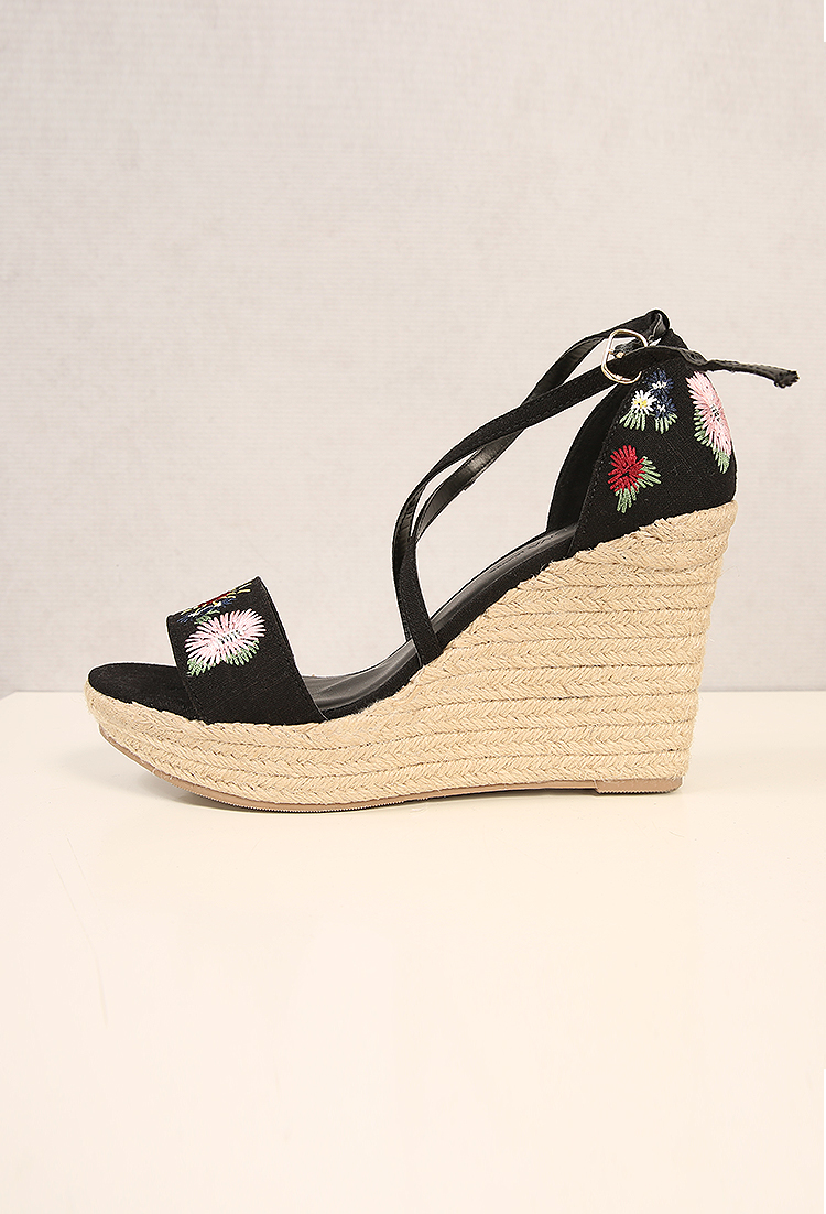 Floral embroidered strappy espadrille wedges shop shoes