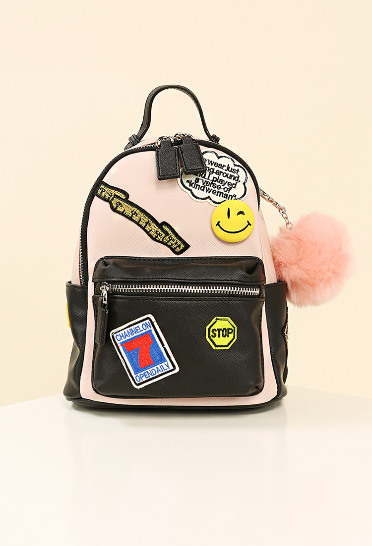 Patched Faux Leather Mini Backpack W Fur Pom