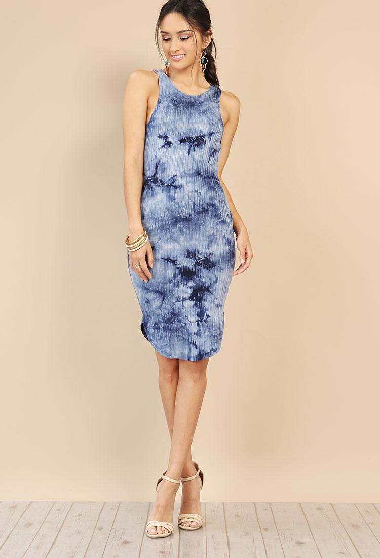 49a4edd7cafc Ribbed Tie-Dye Midi Dress | Shop Bodycon at Papaya Clothing
