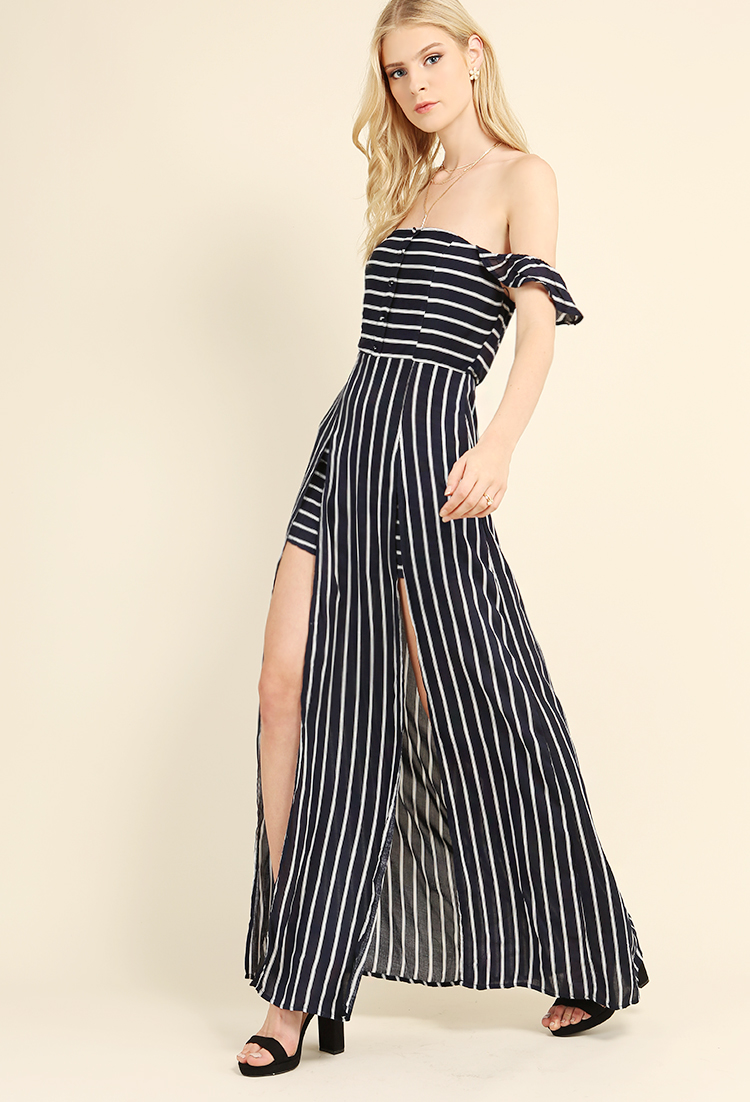 1aefd88f57 Striped M-Slit Button Detail Maxi Dress