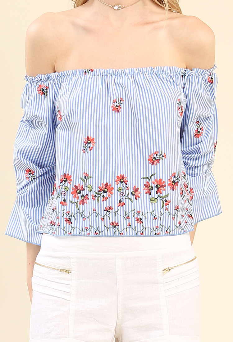 785523b35bee5f Striped Floral Ruffle Off-The-Shoulder Top