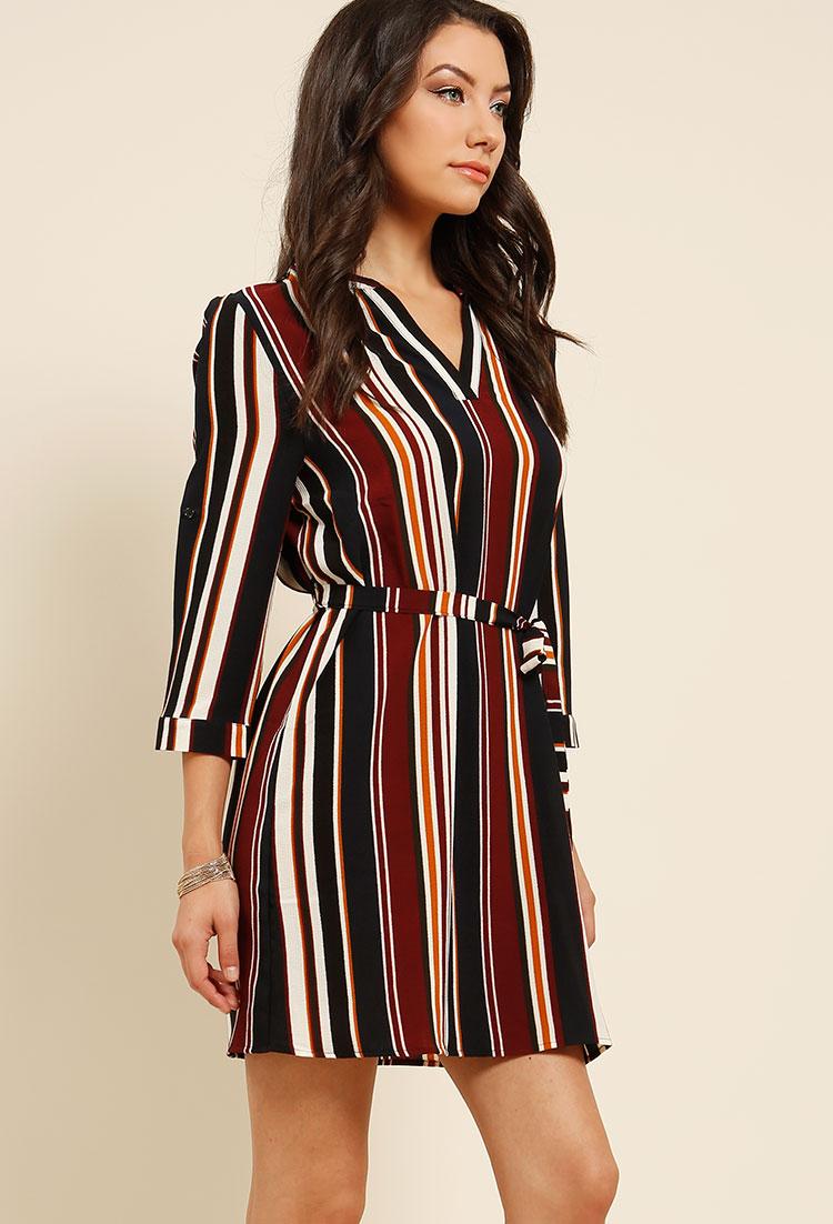 1099113aff Belted Striped Shirt Dress