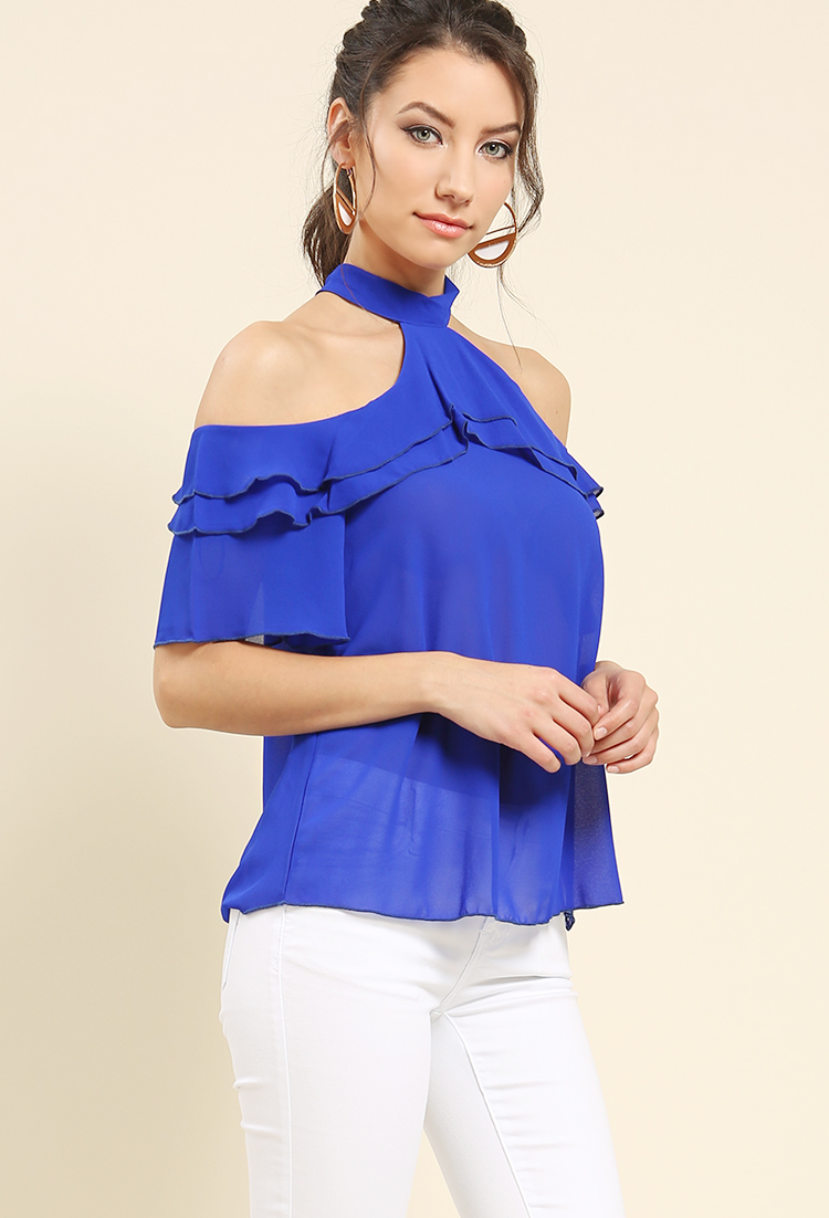 Ruffled Halter Chiffon Top | Shop New And Now at Papaya Clothing