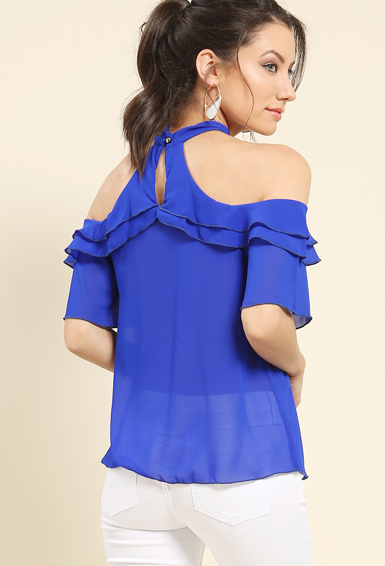 Ruffled Halter Chiffon Top | Shop Trending Now at Papaya Clothing