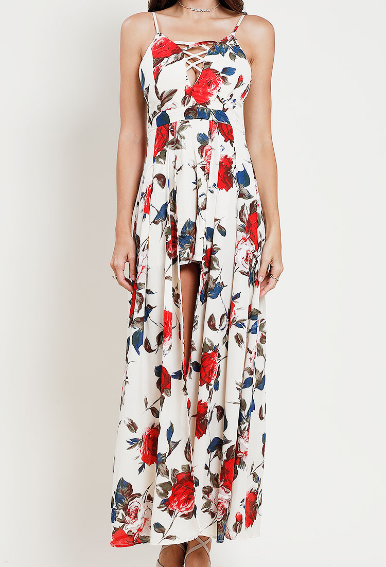 bc2fcf9596 Floral Crisscross-Front Maxi Romper | Shop All Promo at Papaya Clothing
