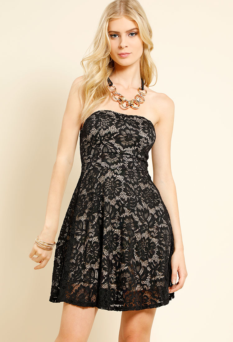 Strapless Lace Overlay Skater Dress W Necklace