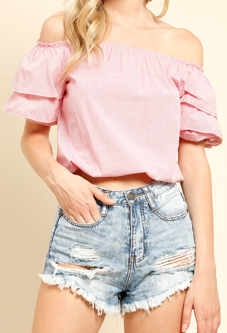 bba443ad260b6e Tiered Puffy Sleeve Off-The-Shoulder Top