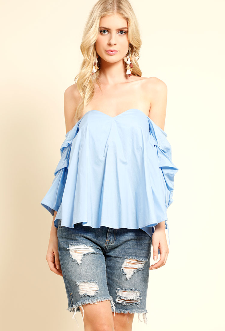 ad6b2c8e87d99d Puffy Sleeve Off-The-Shoulder Top