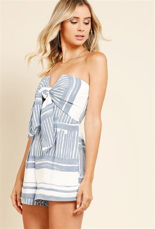 f7d835be22fd Striped Tie-Front Strapless Romper ...