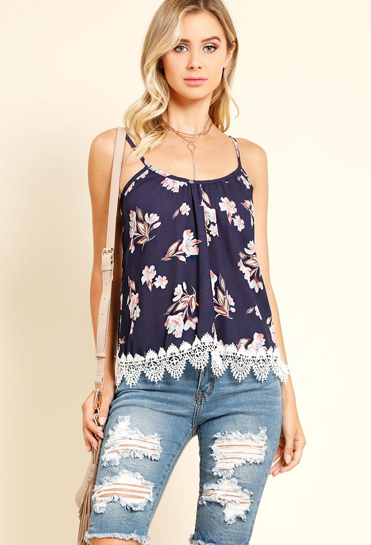 lace hem floral cami top shop fall fashion at papaya clothing