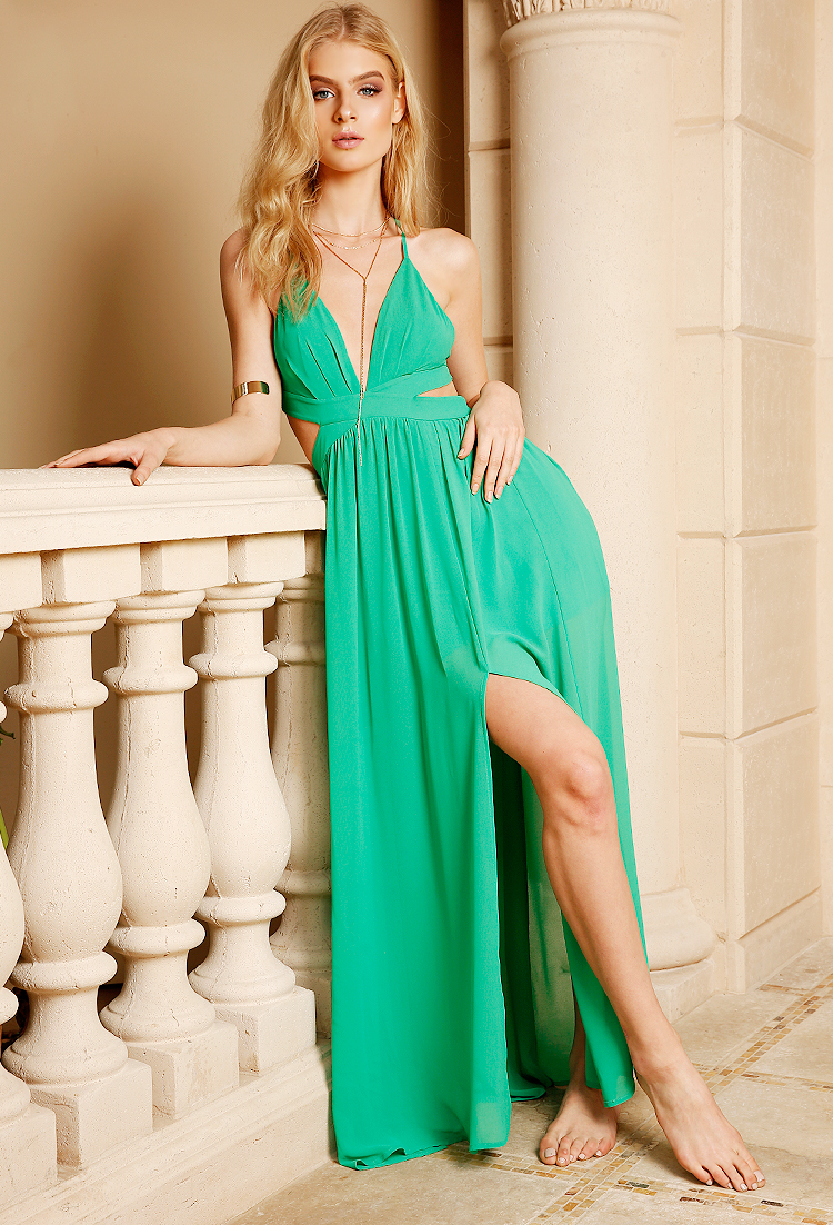 Chiffon M-Slit Cutout Maxi Dress   Shop Maxi Dresses at Papaya Clothing