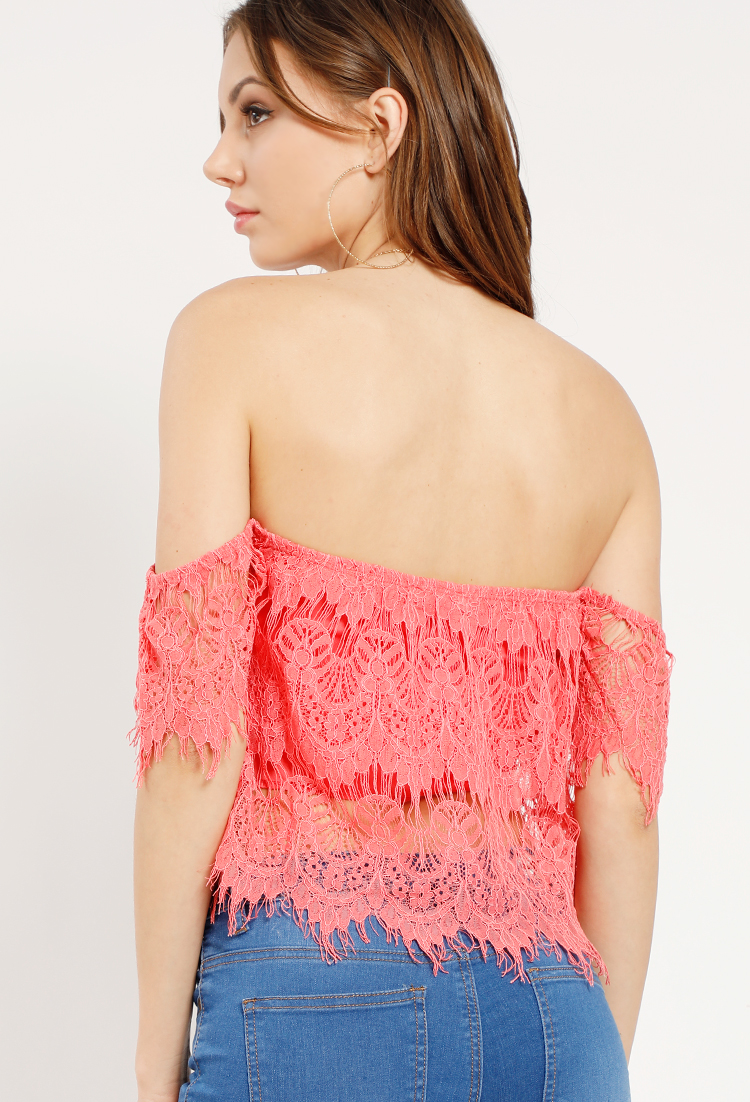 6ac220a1788f4 ... Off-The-Shoulder Lovely Lace Top ...