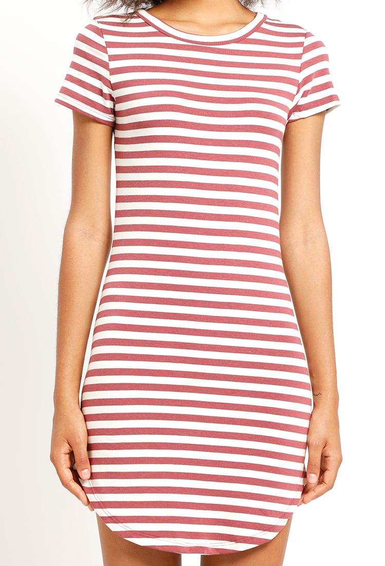 amazon big discount good texture Stripe Curved-Hem T-Shirt Dress | Shop Clothing at Papaya ...