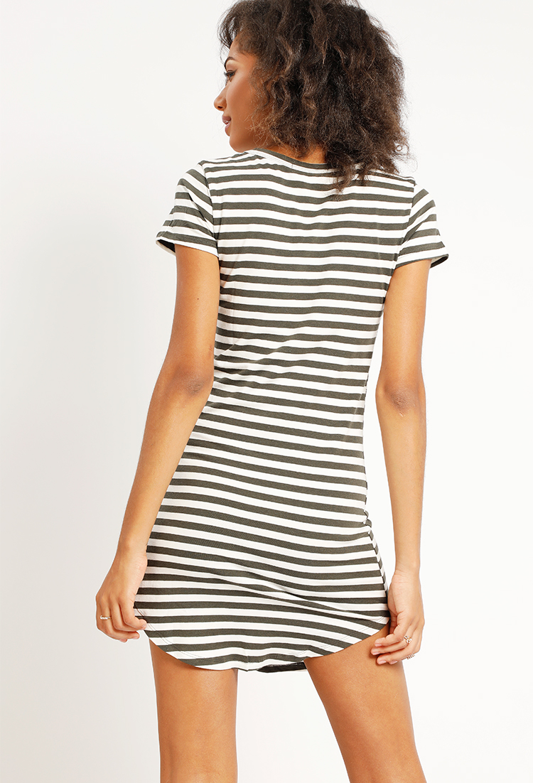 Stripe Curved-Hem T-Shirt Dress