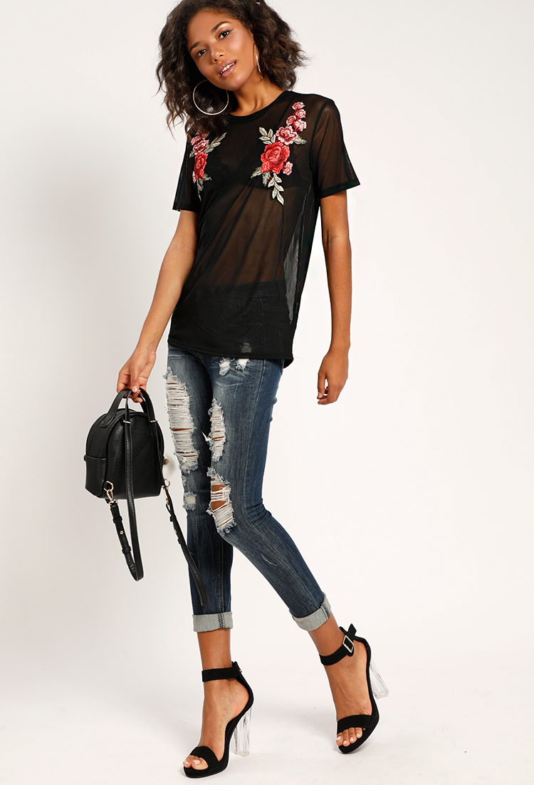 eeb51a12c97d2 Floral Embroidered Oversized Mesh Top