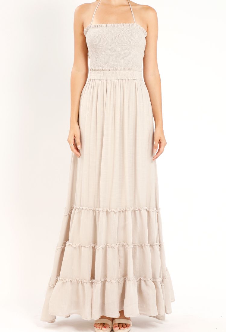 Tiered Smocked Strappy-Back Maxi Dress  0d6029e3b
