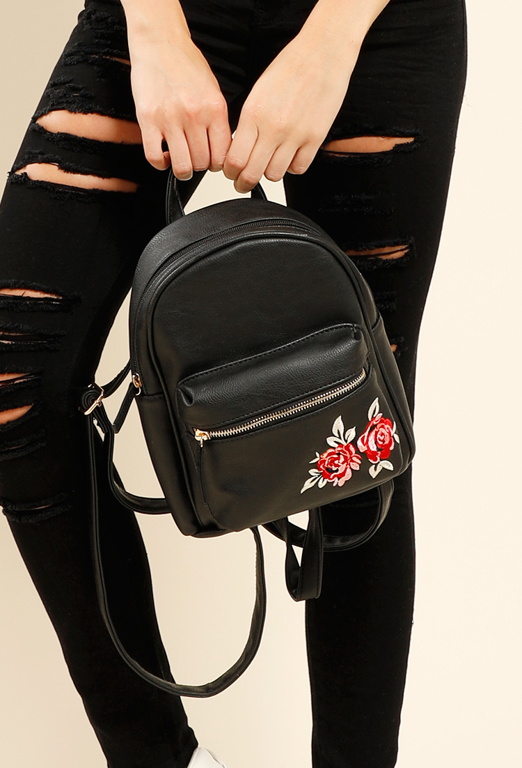 Black Mini Backpack With Flowers - G  M  Luico Enologia