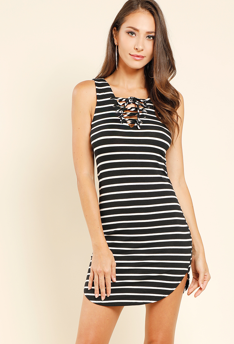 Striped Lace Up Sleeveless Dress Shop Old Under 15 Dresses At