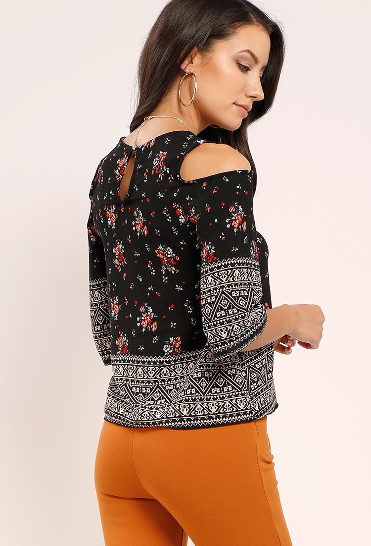239214f747dd4 ... Ornate Floral Open-Shoulder Top ...