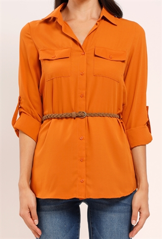 Button Down Blouse With Belt
