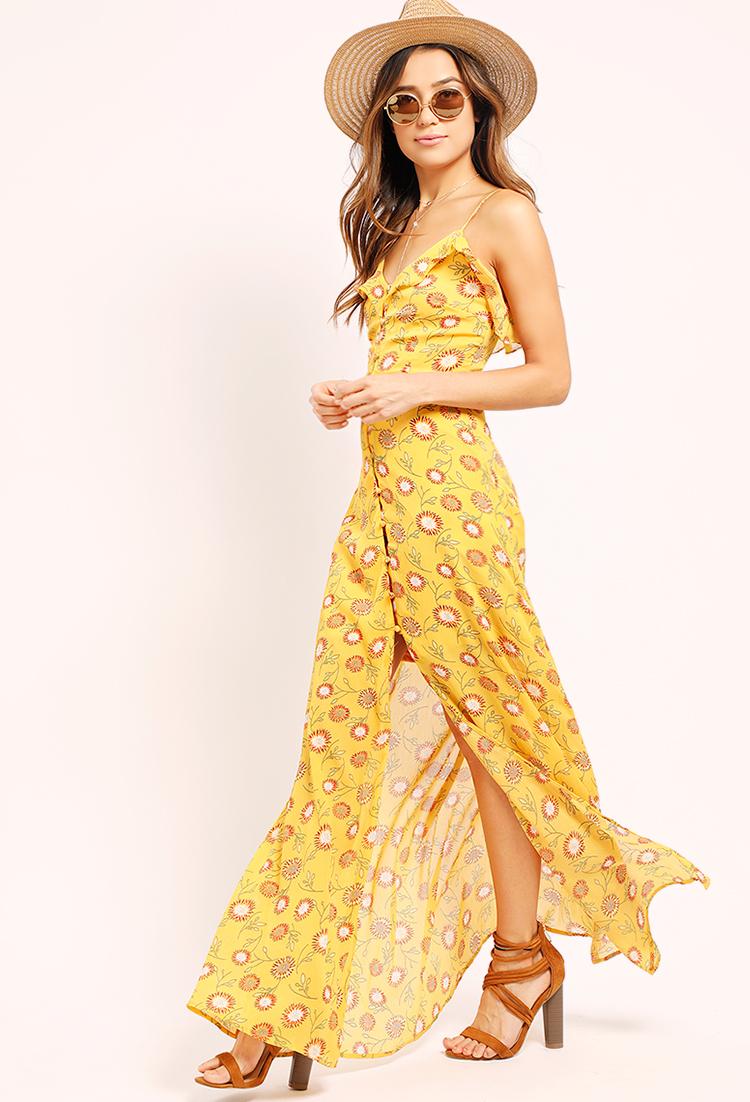 b2b81573da Floral Print Button-Down Maxi Dress