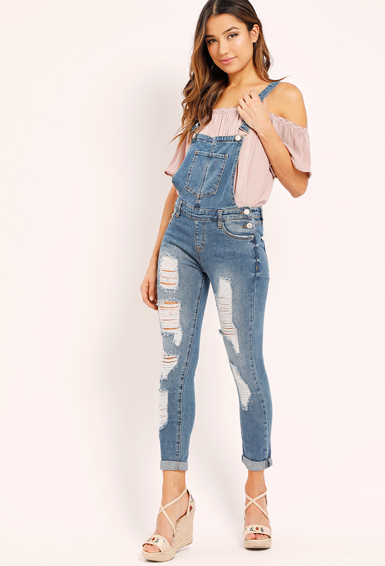 08e6d0863d Distressed Denim Overalls | Shop Old Floral Dresses at Papaya Clothing