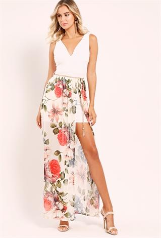 floral mesh maxi dress w belt shop floral dresses at