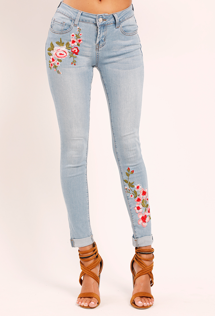 Cuffed floral embroidered jeans shop new and now at