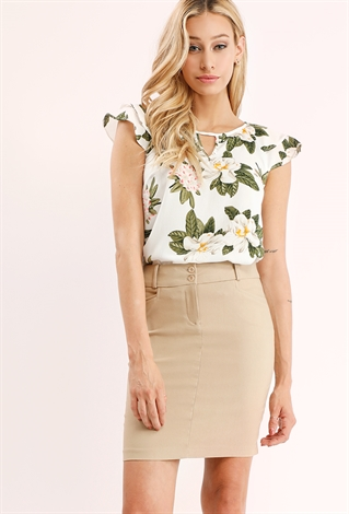 Two Buttons Classic Mini Skirt