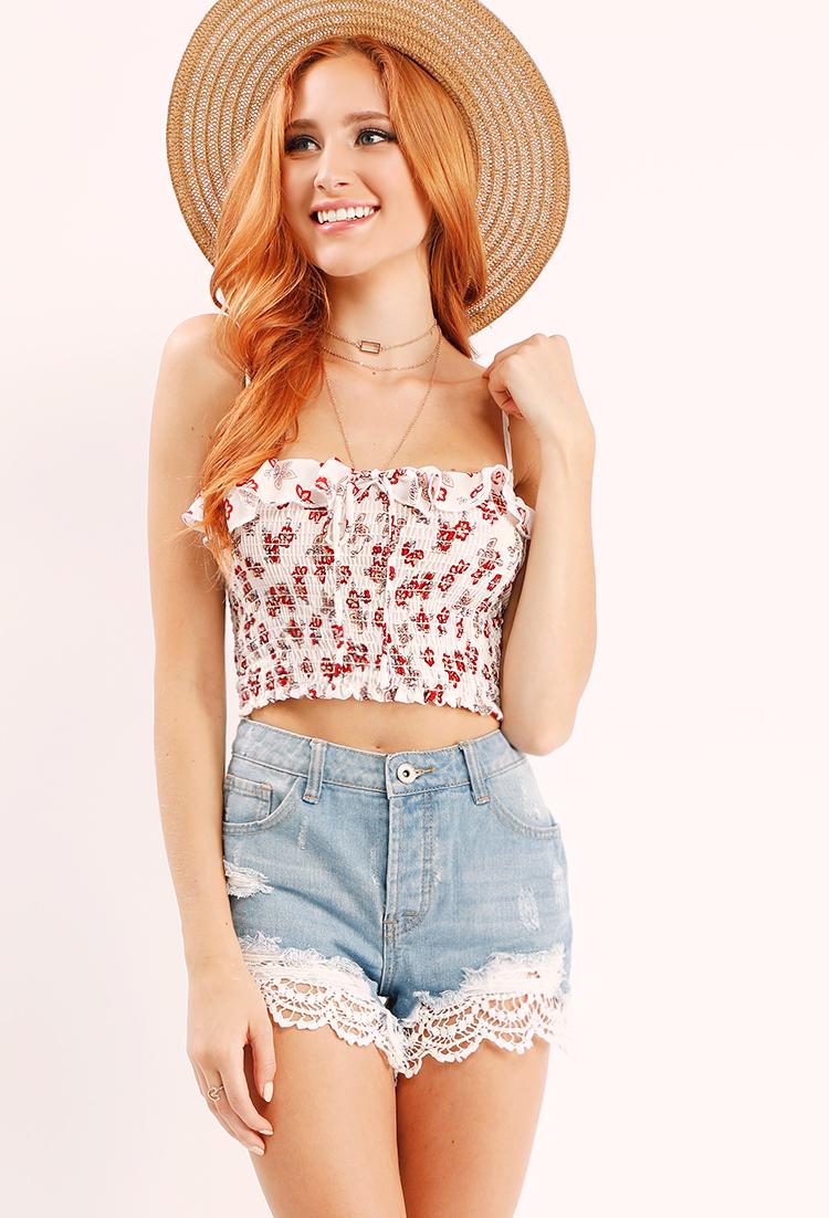 4c1a02f0b99 Smocked Floral Crop Top | Shop Off-The-Shoulder at Papaya Clothing