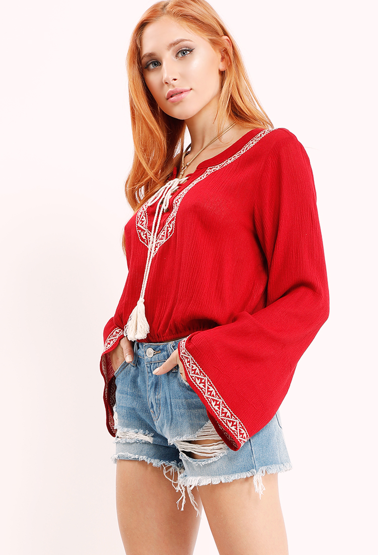 Embroidered Bell-Sleeve Tassel Top