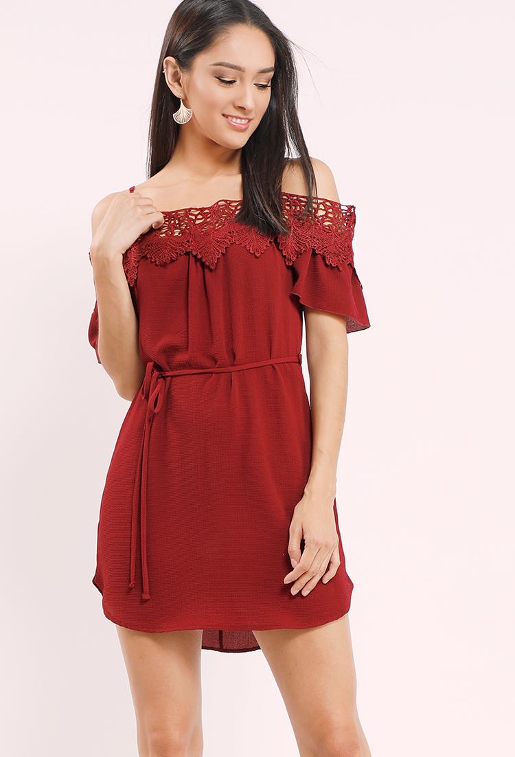 2f7a9ce1e41 Crochet-Trimmed Off-The-Shoulder Mini Dress
