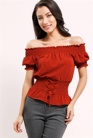 30453209641 Smocked Lace-Up Off-The-Shoulder Top | Shop Office Wear at Papaya ...