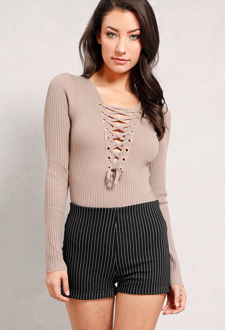 Lace-Up Ribbed Long-Sleeve Knit Bodysuit  7d51858b9