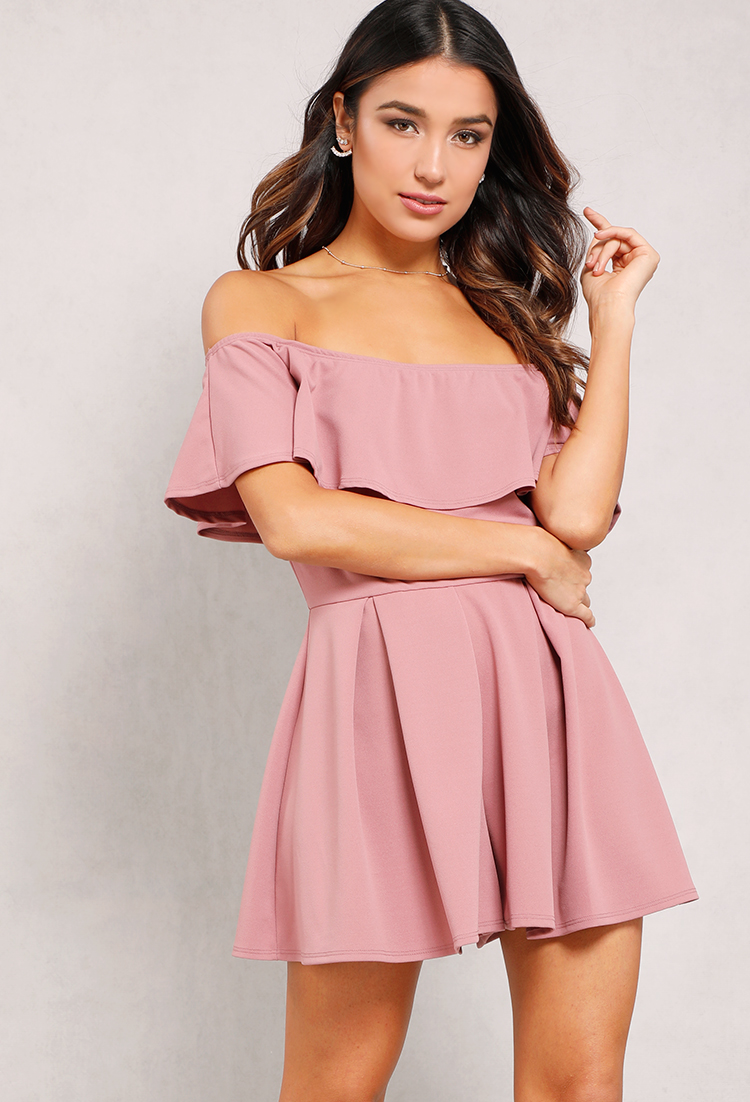 04a81250905e Flounce Fit And Flare Off-The-Shoulder Romper