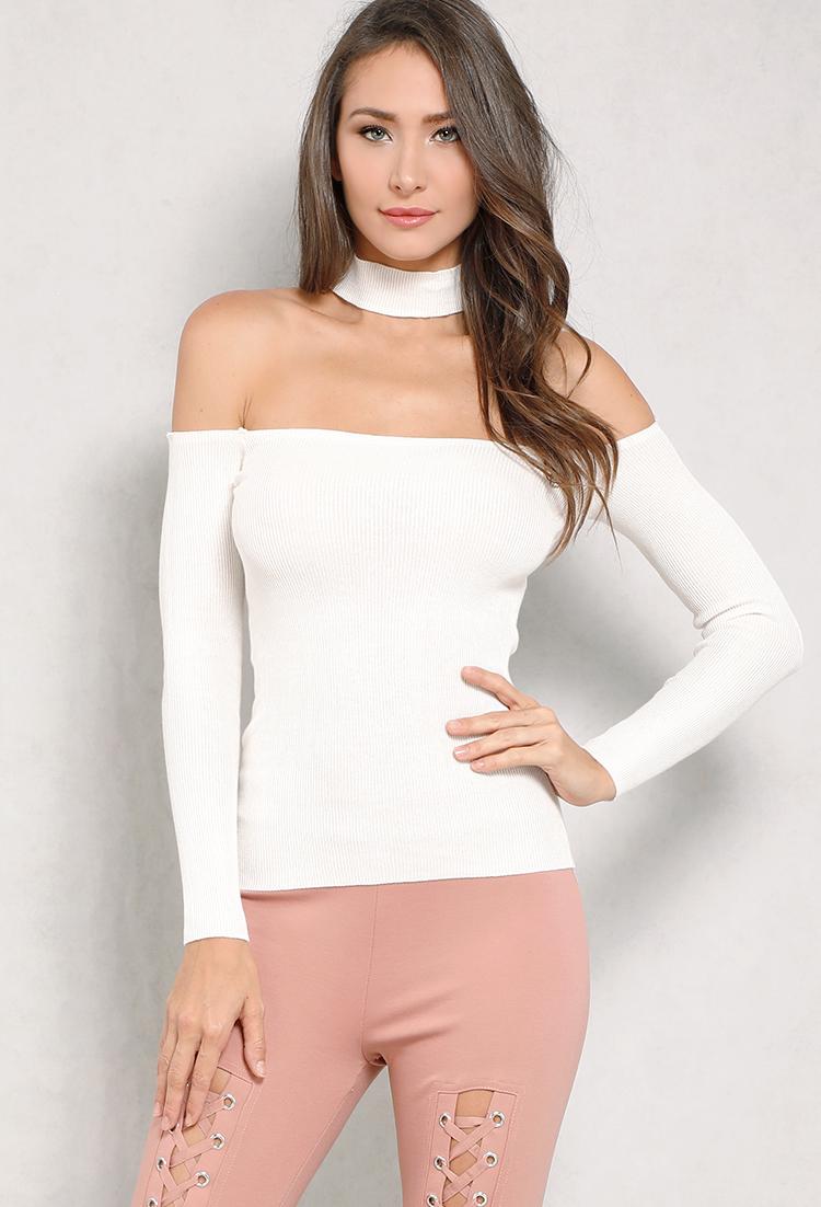 62b3d74b8da Ribbed Off-The-Shoulder Choker-Neck Sweater | Shop Lightweight at Papaya  Clothing