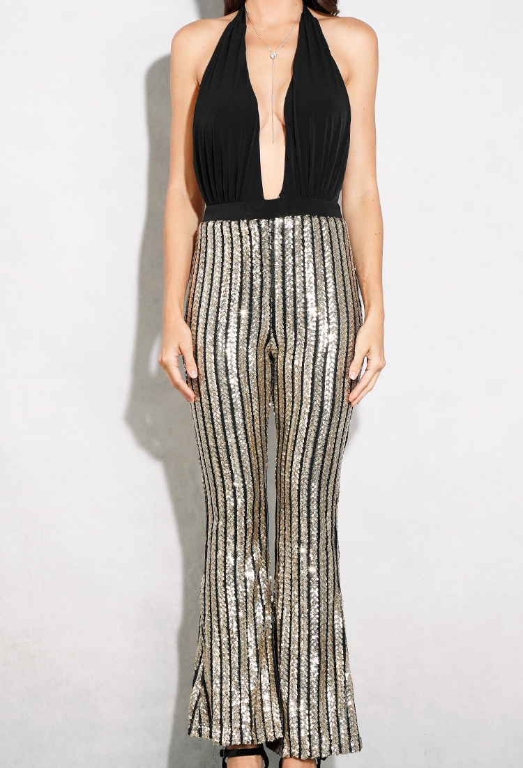 Plunging Sequin Halter Jumpsuit