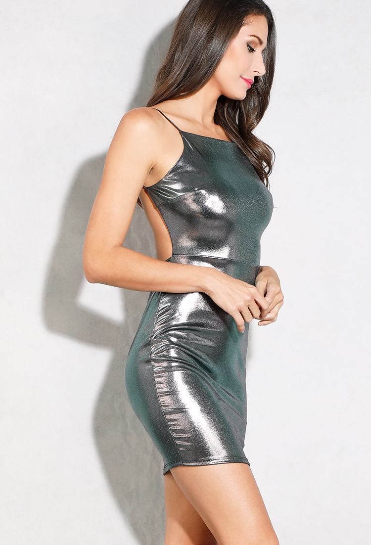 Backless Metallic Oil Slick Slip Dress