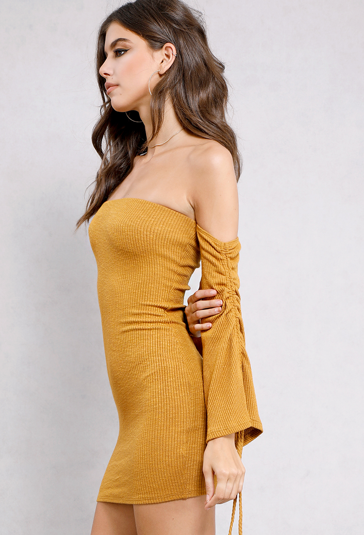 Self-Tie Bell-Sleeve Off-The-Shoulder Knit Dress