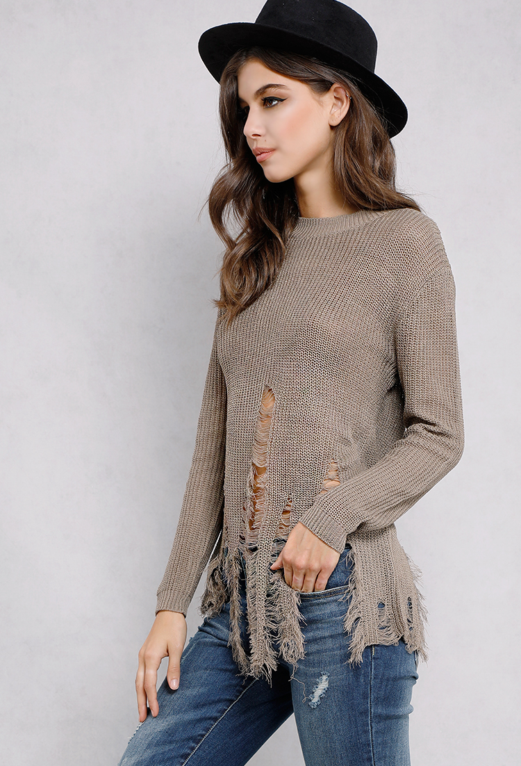 Distressed Knit Sweater