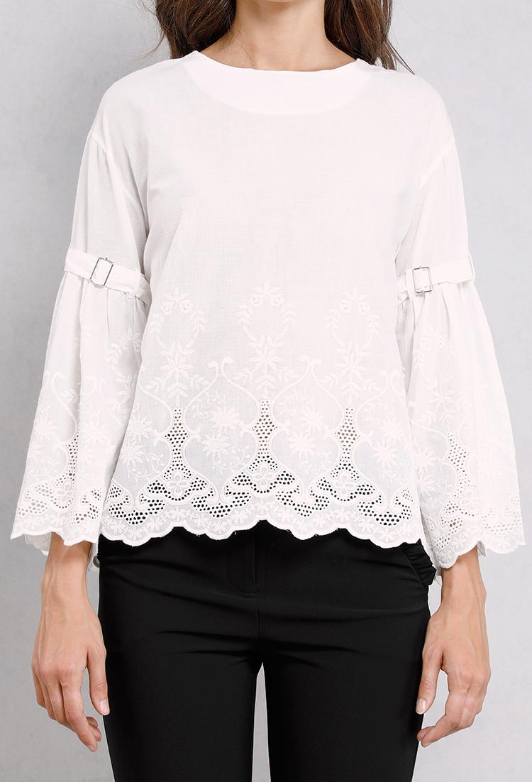 Bell sleeve crochet blouse shop blouse shirts at for Bell bottom sleeve shirt