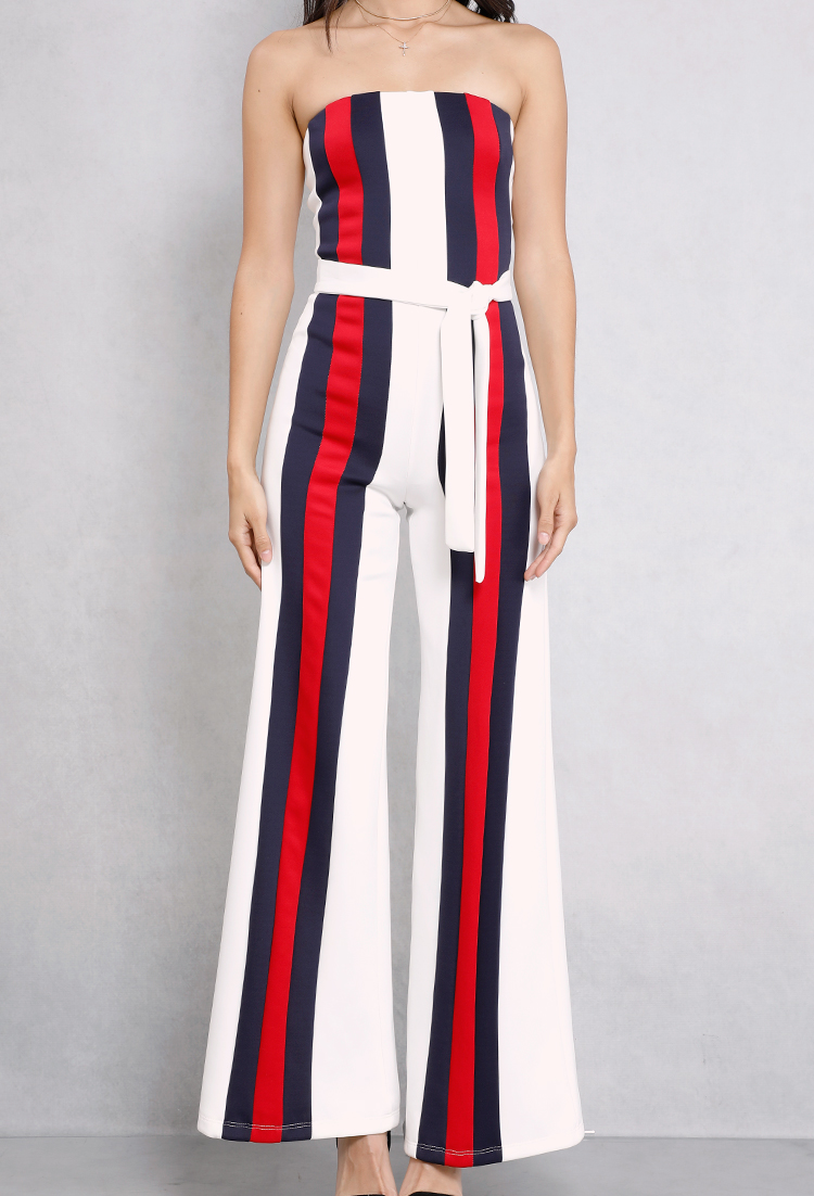 Striped Self-Tie Strapless Jumpsuit