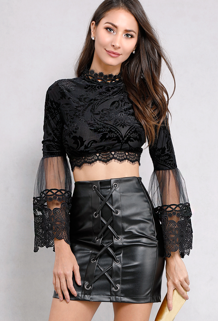 Lace & Tulle Brocade Bell-Sleeve Crop Top