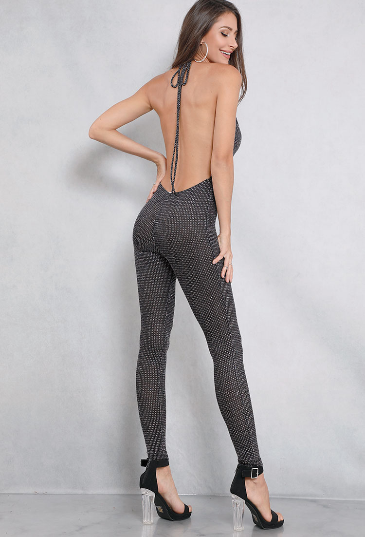 Backless Glitter Cowl Neck Jumpsuit
