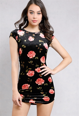 Velvet Floral Printed Cap-Sleeve Mini Bodycon Dress